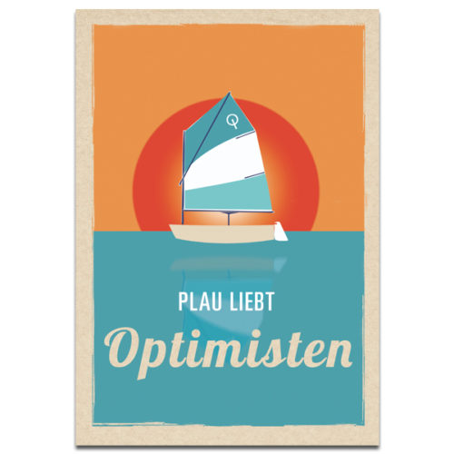 "Plaupause Postkarte ""Plau liebt Optimisten"" Retro"