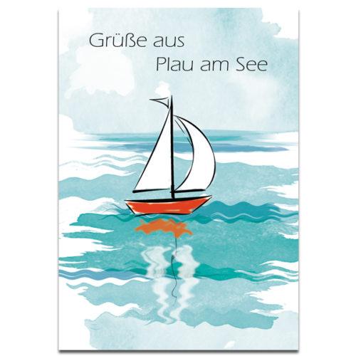 """Plaupause: Postkarte """"Segelboot"""" Aquarell Plau am See"""