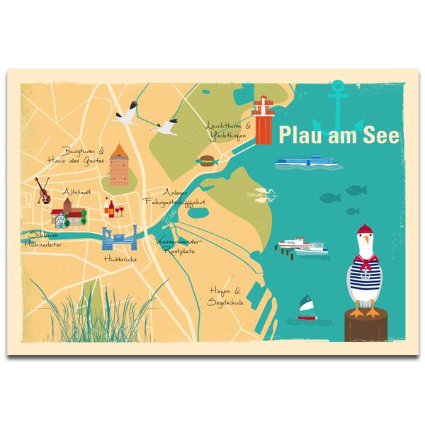 "Plaupause: Postkarte ""Plau Map"" Plau am See"