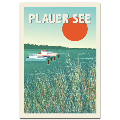 "Plaupause Postkarte ""Plauer See Boote"""
