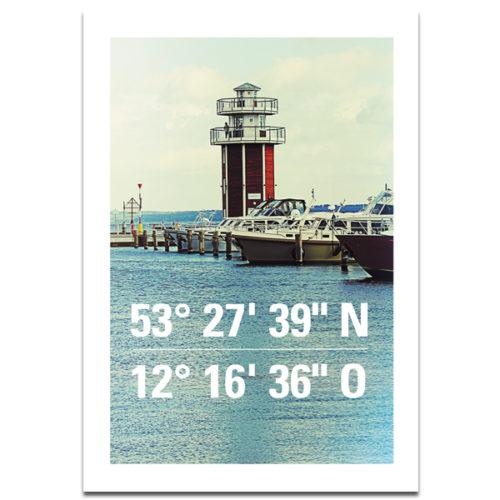 """Plaupause Postkarte """"Koordinaten Plau"""""""