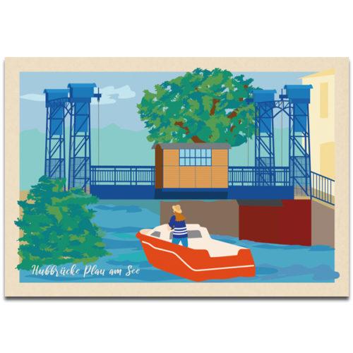 "Plaupause Postkarte ""Plauer Hubbrücke"""