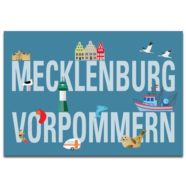 """Plaupause Postkarte """"Typisch Mecklenburg-Vorpommern"""""""