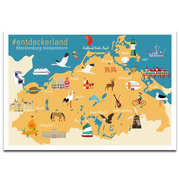 """Plaupause Postkarte """"Entdeckerland Mecklenburg-Vorpommern"""""""