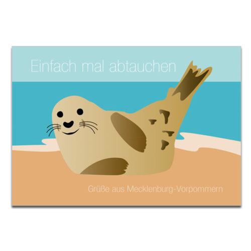 Postkarten Plaupause Mecklenburg Robbe Abtauchen