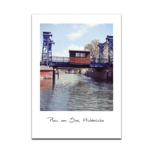 """Plaupause Postkarte """"Hubbrücke Plau"""" Polaroid-Optik"""