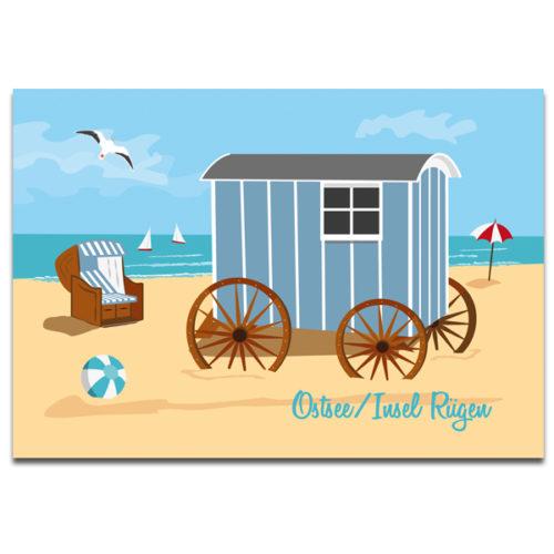 "Plaupause Postkarte ""Rügen Badekarren"""