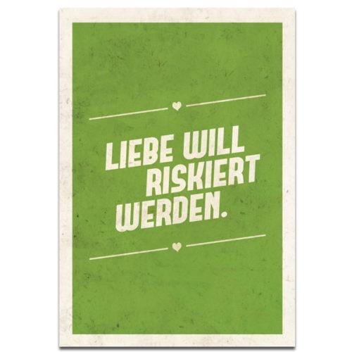 """Plaupause Postkarte """"Liebe will riskiert werden"""""""