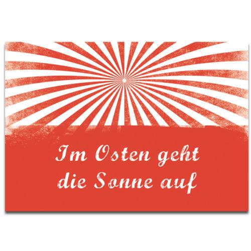 """Plaupause Postkarte """"Im Osten geht die Sonne auf"""""""