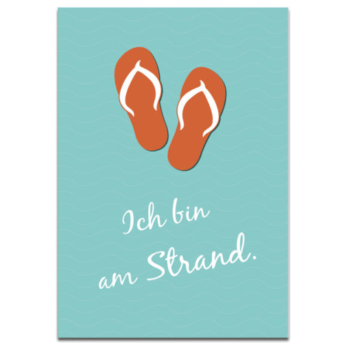 "Plaupause Postkarte ""Ich bin am Strand"""