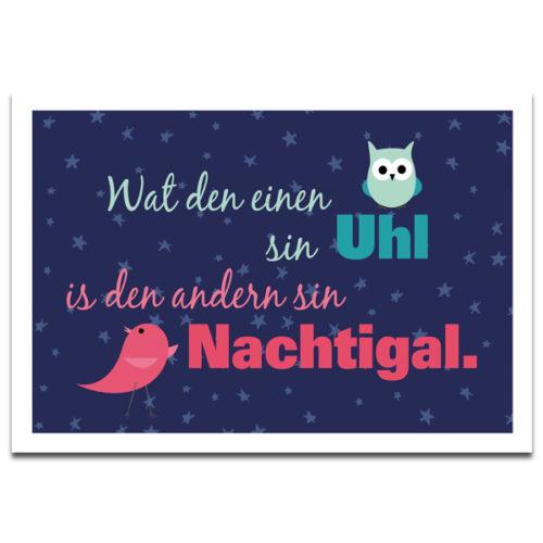 """Plaupause Postkarte """"Wat den einen sin Uhl"""""""