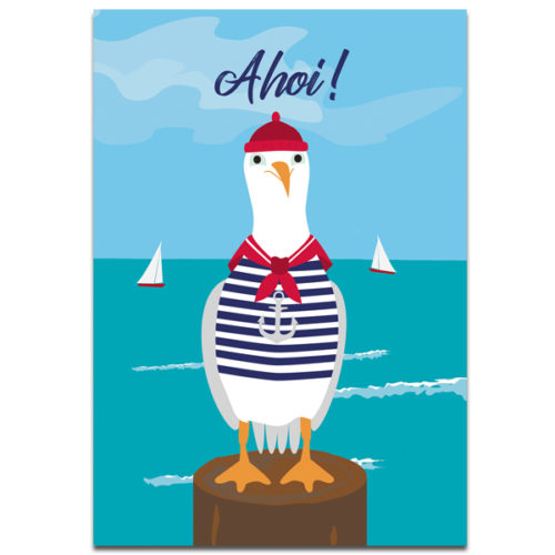 """Plaupause Postkarte """"Möwe Ahoi"""""""